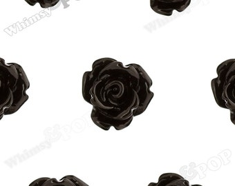 Black Rose Cabochons, Flower Cabochons, Flower Cabs, 10mm Rose Cabochons, Flat Back Roses, 10mm x 6mm (R1-064)