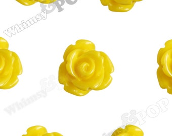 Yellow Rose Cabochons, Flower Cabochons, Flower Cabs, 10mm Rose Cabochons, Flat Back Roses, 10mm x 6mm (R1-055)
