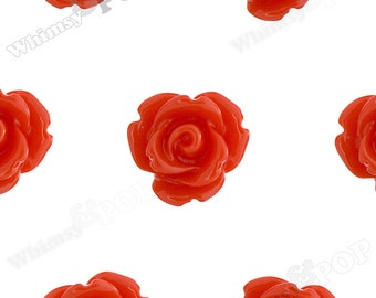 Red Rose Cabochons, Flower Cabochons, 10mm Rose Cabochons, Flat Back Roses, 10mm x 6mm (R1-062)