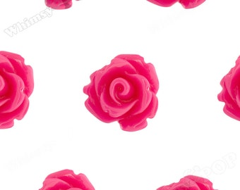Fuchsia Rose Cabochons, Flower Cabochons, Flower Cabs, 10mm Rose Cabochons, Flat Back Roses, 10mm x 6mm (R1-056)