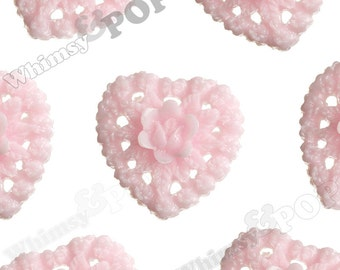 Pink Rose Heart Flower Resin Cabochons, Heart Cabochons, Heart Shaped, 16mm (R2-062)