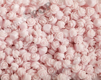 7.5mm - Pale Pink Teeny Tiny Rose Resin Cabochons, Tiny Flower Cabochons, Flower Cabs, Tiny Flatback Roses, 7.5mm  (R3-053)
