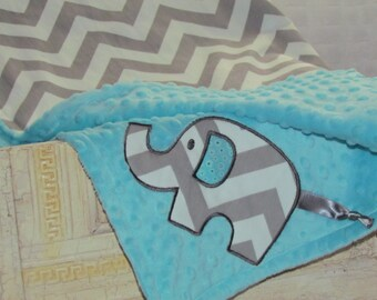 "Minky baby blanket-30""X36""- appliqued elephant with grey premier print cotton chevron.- Choose minky color"
