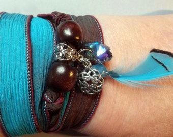 Lovely Silk Ribbon Wrap Bracelet With Charms