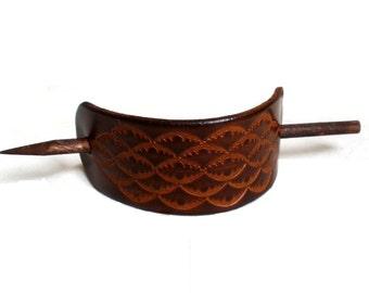 Leather hair barrette, hair slide, stick, Xlarge, brown, embossed pattern