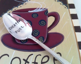 Hand Stamped Creative Fuel Silver Plate Vintage Teaspoon Coffee Spoon Crafters Gift