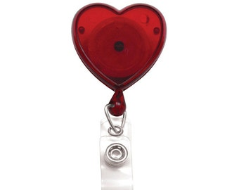 10 Pack Lot - Translucent Red Heart Shaped Top Quality ID Badge Reels w/ Swivel Clip (2120-7616-Q10)