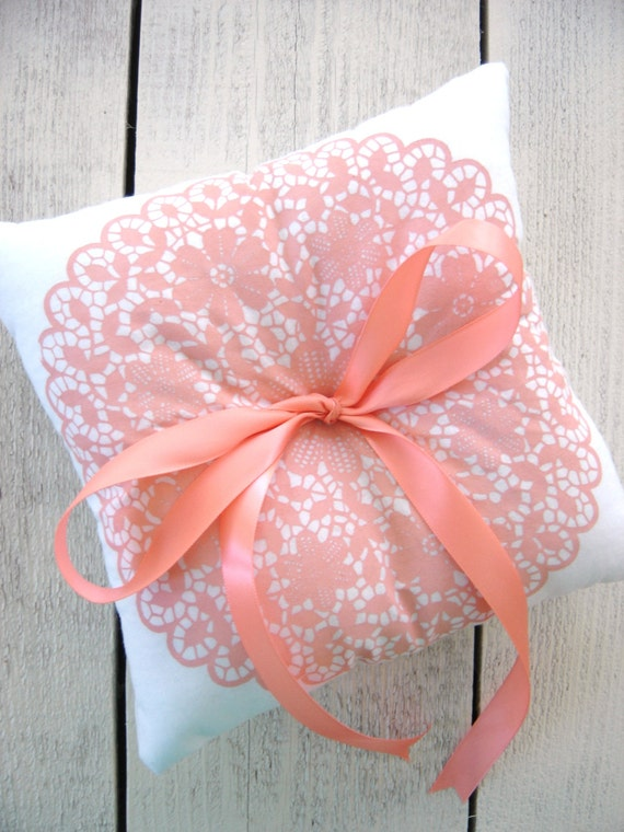 Peach Ring Bearer Pillow, Doily Ring Bearer Pillow, PEACH Wedding, Vintage Wedding