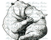 Hippos in Love  Digital Download,  You Print, PNG or GIF or JPG Pillows, Clip Art, Tote bags,for Children, Kids
