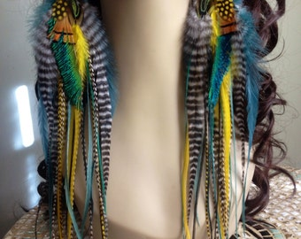 XL Long Feather Earrings - Fantasia Goddess Large Statement Earrings Green, Yellow, and Grizzly Big Full Feather Earings