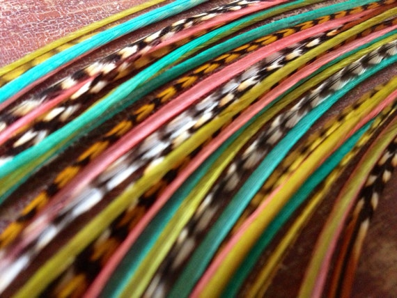 Long Feather Extensions Aqua Cree Coral Golden Olive Grizzly 5 Hippie Hair Feathers Bonded Feather Hair Extension