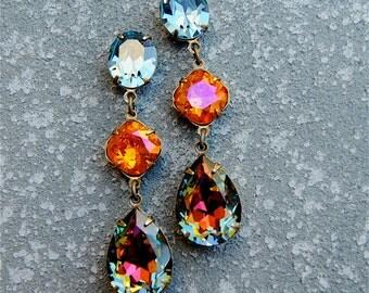 Denim Blue Orange Pink Rainbow Earrings Rhinestone Earrings Swarovski Crystal Large Earrings Fiesta Mashugana