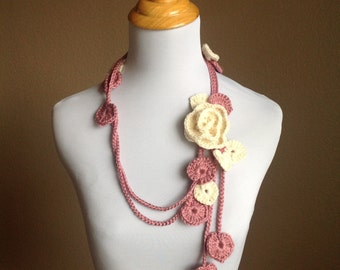 Valentines Adjustable Rose Lariat with White Rose Brooch