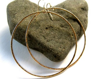 "Big Gold Hoop Earrings, Large Hammered Hoops, 2"" Handmade Textured Simple Circles, Minimilist Jewelry, Elegant Fashion, Gift Idea, Boho"