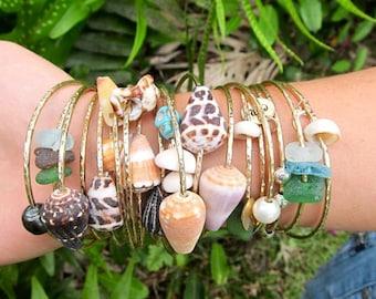 Gold Shell Bangle, Hawaii Beach Surfer Girl Jewelry, Stacking Bangles, Hawaiian Shells, Christmas Gift Idea, Handmade Maui Hammered Bracelet