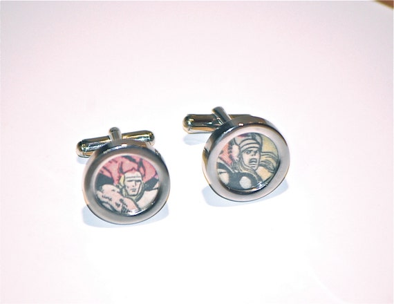 The mighty Thor cufflinks avengers cuff links avenger movie recycled upcycled vintage marvel superhero comic book comics