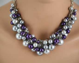 Chunky gray and purple necklace - bridesmaids jewelry,wedding necklace, bridal party jewelry-gp1