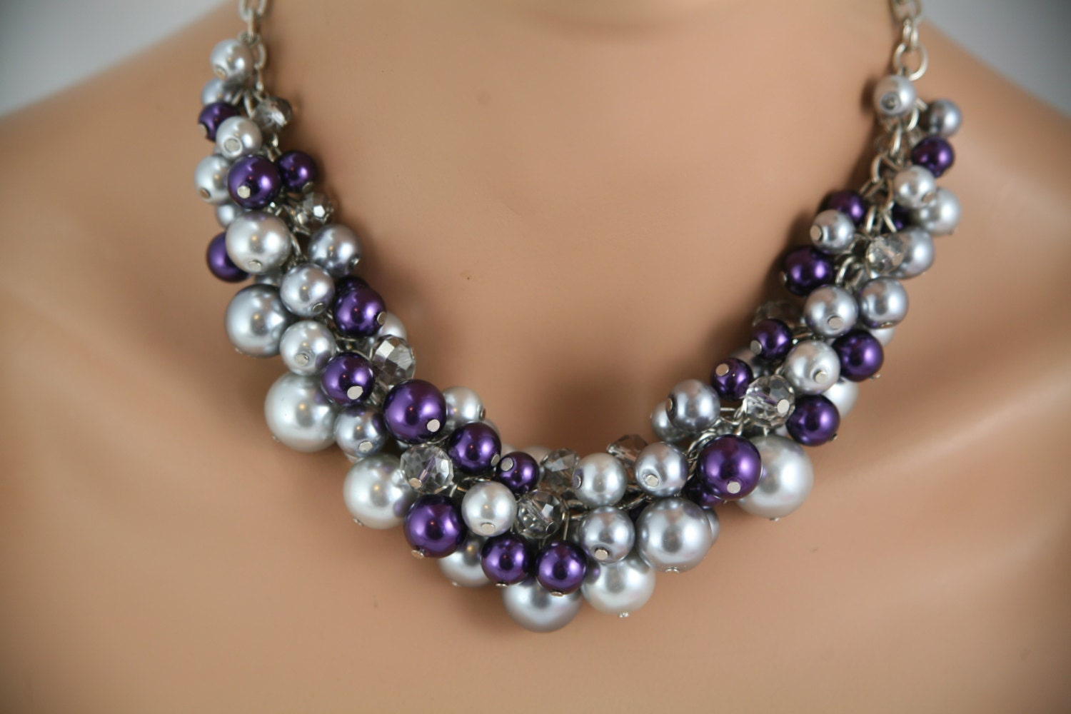 chunky gray and purple necklace wedding necklaces zoom