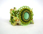 Beadwork bracelet, Seed beads bracelet cuff, Beaded jewelry, Freeform peyote bracelet, summer green