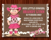 Cowgirl Themed Birthday Invitation printable digital file