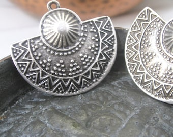 Silver Arabian Style Pendant, Connectors Or Earring Findings Old World Style pair