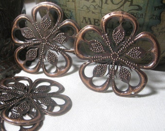 Filigree Stamping Large Flower Shape in Antique Copper 10 pieces