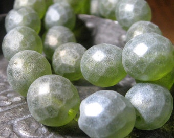 Czech Glass Beads 12mm Frosted Green Faceted Rounds Matte Green Laurel 6 pieces