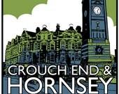 Vintage style screenprint - Visit Crouch End & Hornsey
