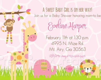 MOD PINK JUNGLE baby shower invitation - You Print