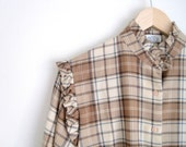 70s Blouse. Brown Plaid Blouse. Tartan Plaid Ruffle Shirt. Vintage Twee Blouse. Long Sleeves Fall Button Down Blouse.