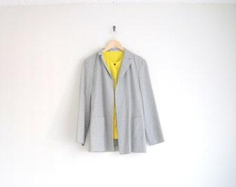 Vintage Minimalist Jacket | Dove Gray Blazer Jacket | Classic Tailored Blazer