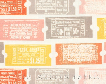 Half Yard 2wenty Thr3e Tickets in Parchment, Eric and Julie Comstock, Cosmo Cricket, Moda Fabrics, 100% Cotton Fabric, 37051 11