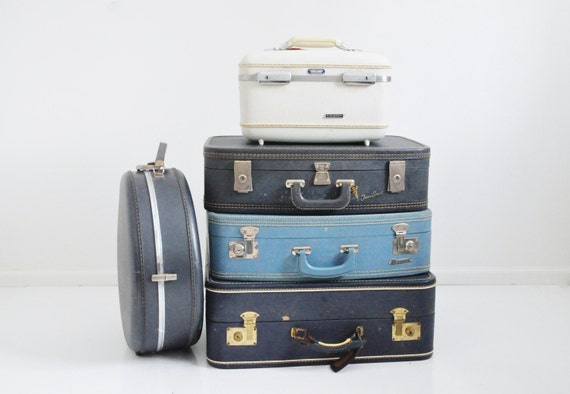 Mid Century Navy Blue Suitcase