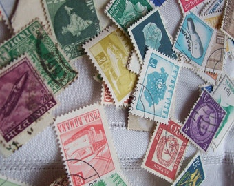 Lot of 250 stamps mixed lot of stamps postal aceo art design mixed media scrapbooking