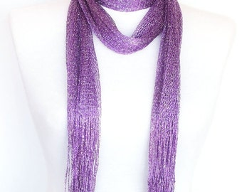 Silvery Lilac Scarf / Shawl, Accessory With Fringed, Fashion, Wedding, Cowl, Headband, For Gift
