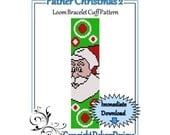 Bead Pattern Loom(Bracelet Cuff)-Father Christmas 2
