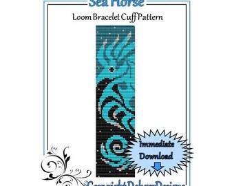 Bead Pattern Loom(Bracelet Cuff)-Sea Horse