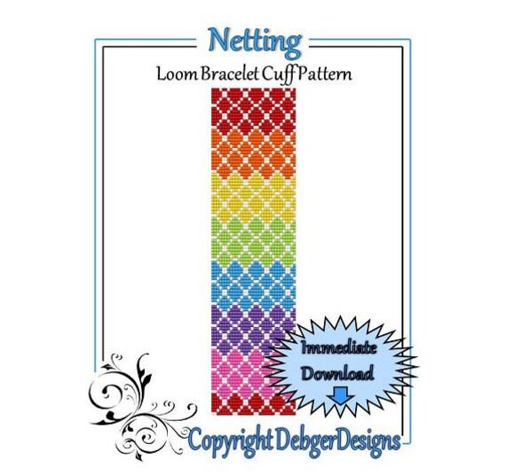 Bead Pattern Loom(Bracelet Cuff)-Netting