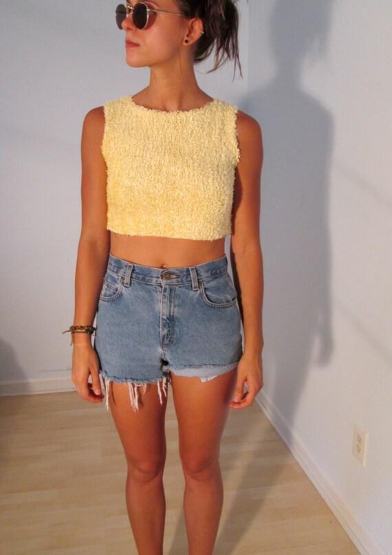 Fuzzy Yellow Crop Top Sweater Tank Xs S Cropped Ooak Boho