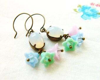 Pastel Flower Earrings, Mint Green, Blue, Lilac Floral Earrings, Opal Earrings, Shabby Chic Earrings, Spring Earrings, Romantic Earrings