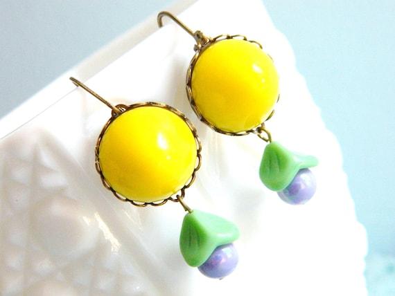 Yellow Earrings, Retro Earrings, Spring Earrings, Lemon, Purple Mint Green, Retro Jewelry, Vintage Jewelry, Summer Earrings, Pastel Earrings