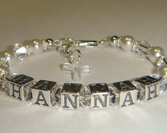 Girl's Bracelet - Swarovski Pearls & Crystals - Personalized with Name - Charm Choice