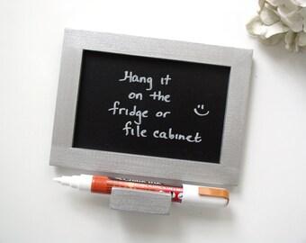 Metallic Silver Mini Chalkboard - Eco-Friendly Magnetic Blackboard for the Fridge or File Cabinet or Desktop