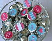 Wedding Favor- Personalized Chocolate Kiss Labels in Teal and Hot Pink for favor or candy buffet- Print your own