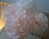 Blush pink or pure white peonys flowers handcrafted