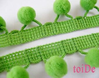 Green Pom Pom Trim - 5 Yards