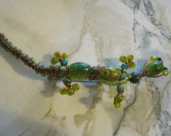 Vintage Beaded Gecko Brooch