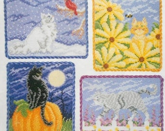 Sharon Pope CATS In The GARDEN 4 Seasons Vignettes - Counted Cross Stitch Pattern Chart - fam