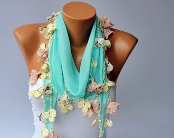 Turkish oya scarf ,mint turkish yemeni /hand crocheted lace border