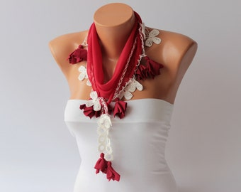 Turkish oya scarf ,turkish yemeni ,hand crocheted lace border,yazma in red